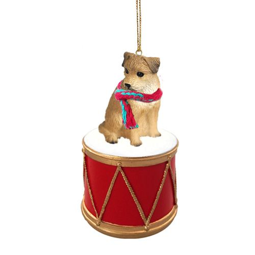 Little Drummer Border Terrier Christmas Ornament