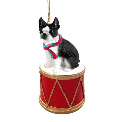 Little Drummer Boston Terrier Christmas Ornament