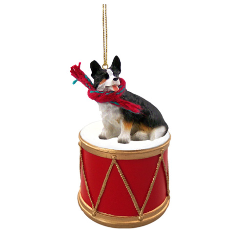 Little Drummer Cardigan Corgi Christmas Ornament