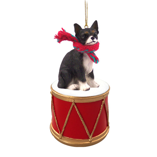 Little Drummer Chihuahua Black-White Christmas Ornament