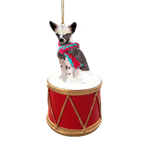 Little Drummer Chinese Crested Christmas Ornament