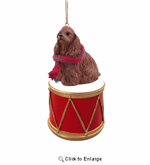 Little Drummer Cocker Spaniel Brown Christmas Ornament