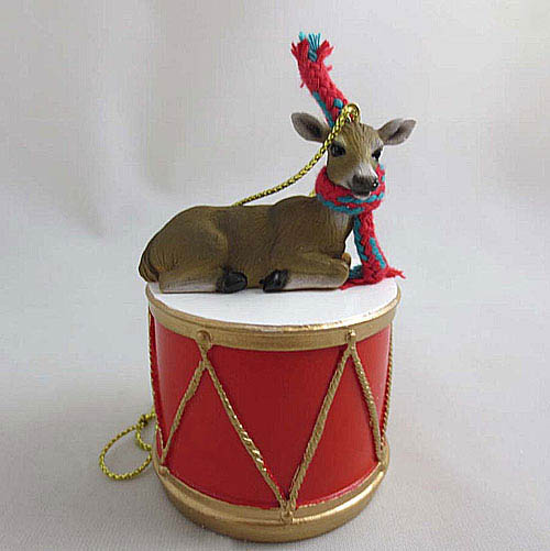 Little Drummer Deer Doe Christmas Ornament Doe