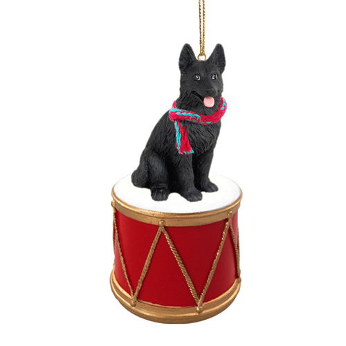 Little Drummer German Shepherd Black Christmas Ornament