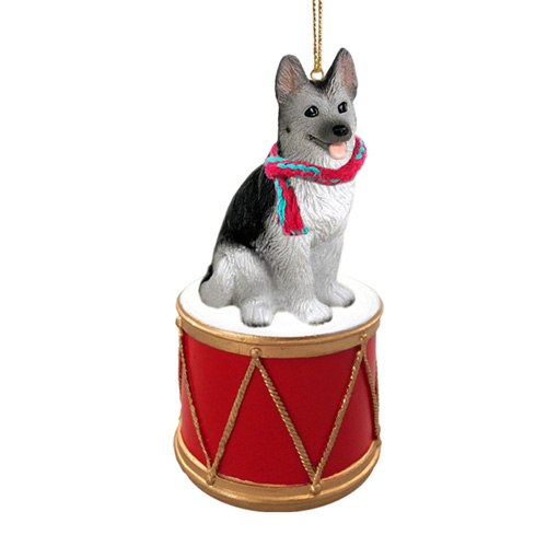 Little Drummer German Shepherd Black & Silver Christmas Ornament