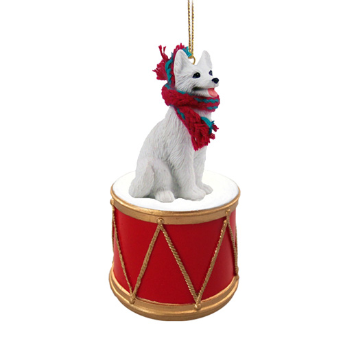 Little Drummer German Shepherd White Christmas Ornament