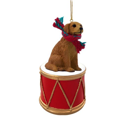 Little Drummer Golden Retriever Christmas Ornament