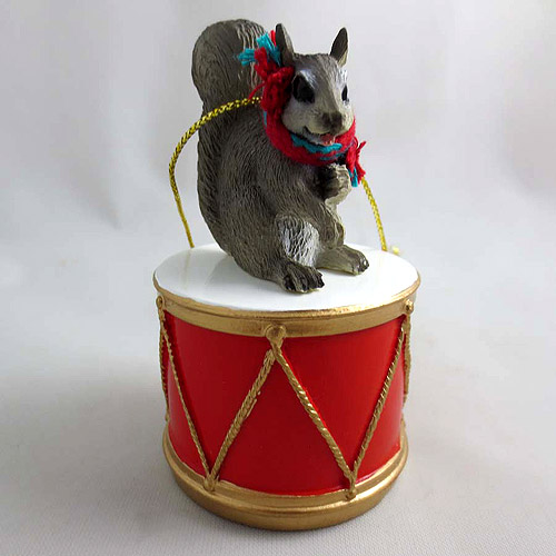 Little Drummer Gray Squirrel Christmas Ornament Gray