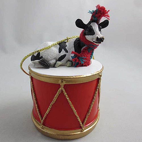 Little Drummer Holstein Cow Christmas Ornament