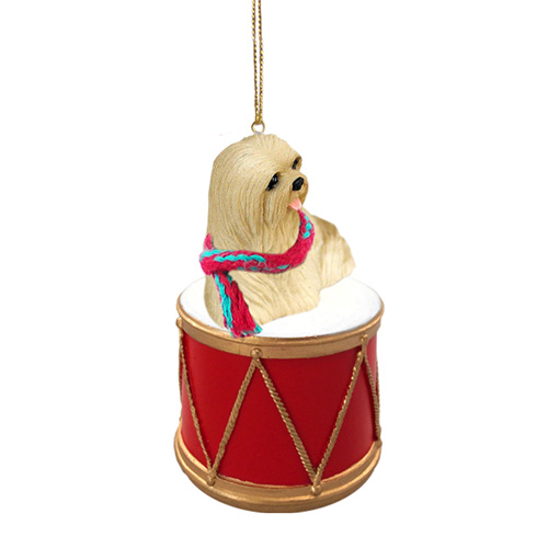 Little Drummer Lhasa Apso Christmas Ornament