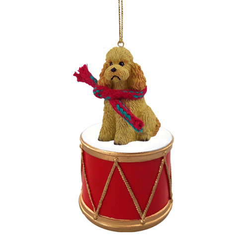 Little Drummer Poodle Apricot Sport Cut Christmas Ornament