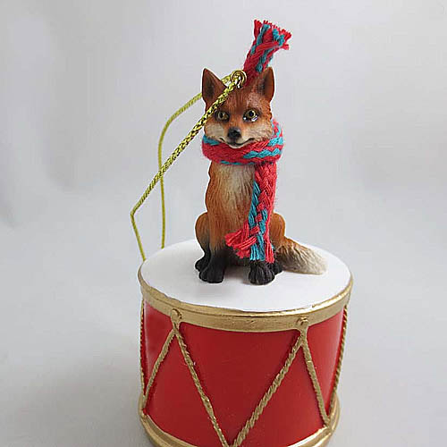 Little Drummer Red Fox Ornament Red