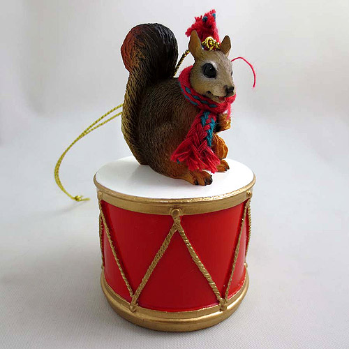 Little Drummer Red Squirrel Christmas Ornament Red