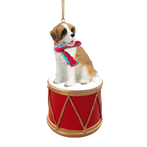 Little Drummer Saint Bernard Christmas Ornament