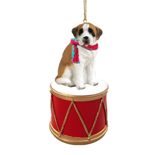 Little Drummer Saint Bernard Smooth Coat Christmas Ornament