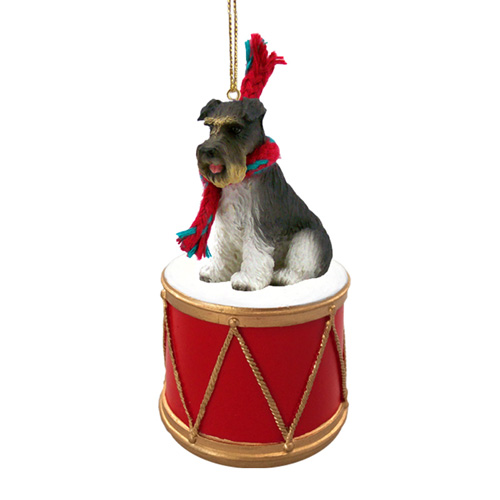 Little Drummer Schnauzer Gray Uncropped Christmas Ornament