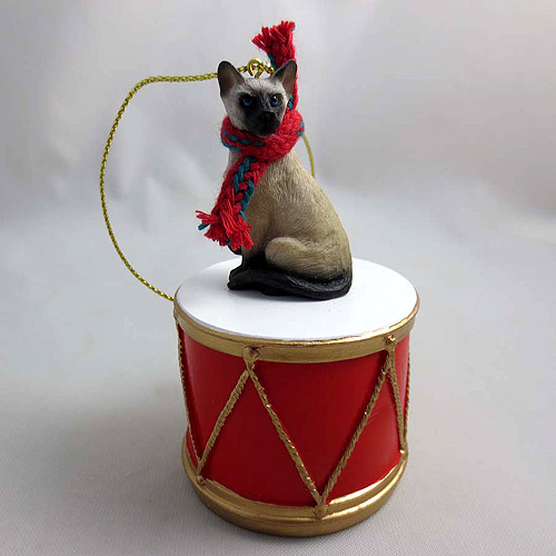 Little Drummer Siamese Cat Christmas Ornament