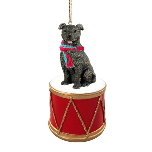 Little Drummer Staffordshire Bull Terrier Christmas Ornament