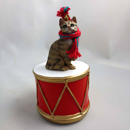 Little Drummer Tabby Cat Brown Shorthaired Christmas Ornament