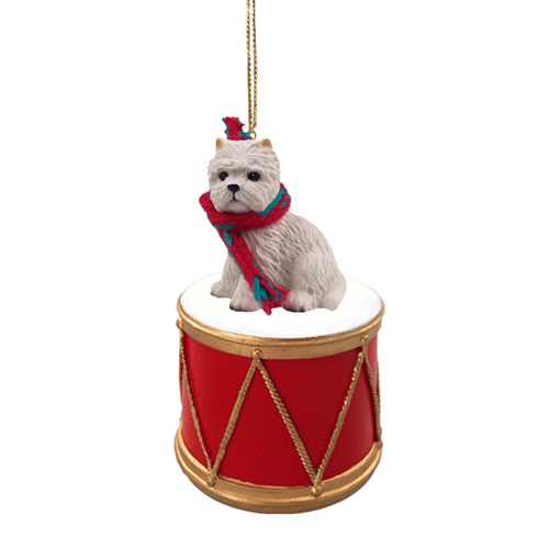 Little Drummer West Highland Terrier Christmas Ornament