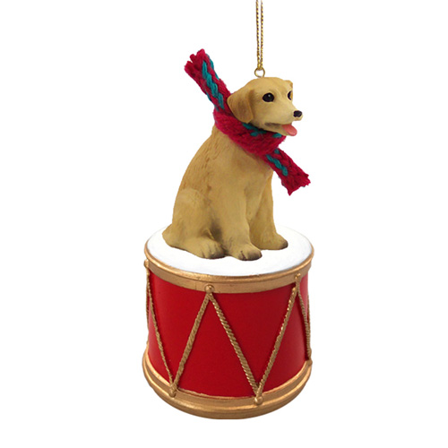 Littler Drummer Yellow Labrador Christmas Ornament