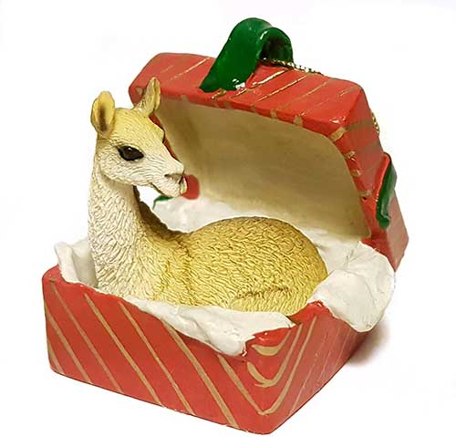 Llama Gift Box Red Christmas Ornament