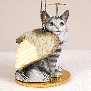Maine Coon Cat Angel Ornament Silver