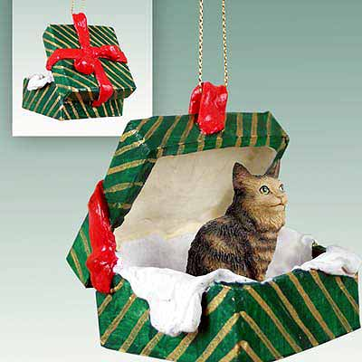 Maine Coon Cat Gift Box Christmas Ornament Brown