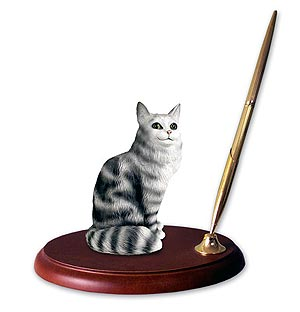 Maine Coon Cat Pen Holder (Silver)