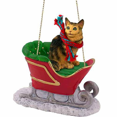 Maine Coon Cat Sleigh Ride Christmas Ornament Brown
