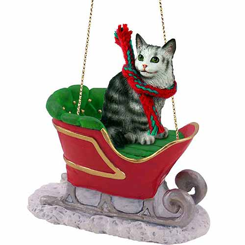 Maine Coon Cat Sleigh Ride Christmas Ornament Silver