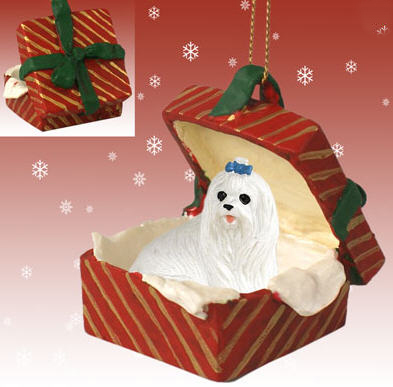 Maltese Gift Box Red Christmas Ornament