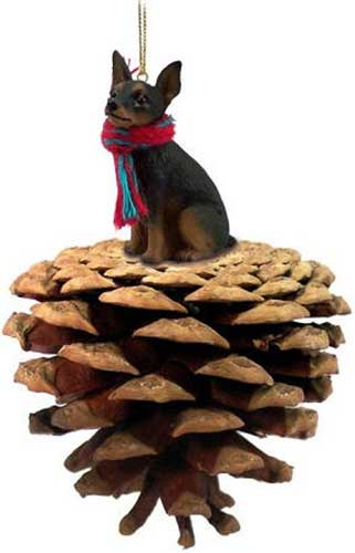 Min Pin Black and Tan Pinecone Christmas Ornament