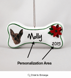 Miniature Pinscher Personalized Dog Bone Christmas Ornament Red-Brown