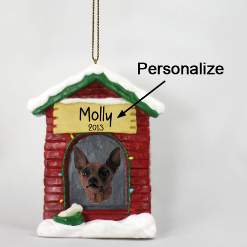 Miniature Pinscher Personalized Dog House Christmas Ornament Red-Brown
