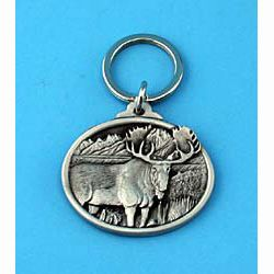 Pewter Moose Keychain