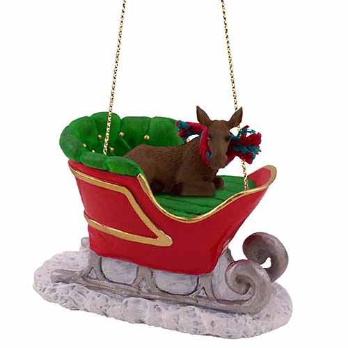 Moose Sleigh Ride Christmas Ornament Cow