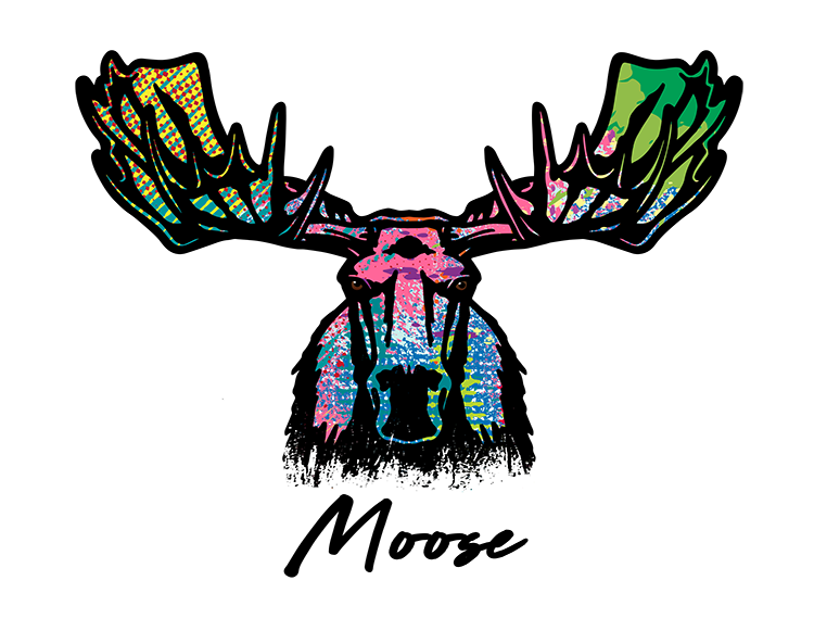 Moose T Shirt Colorful Abstract