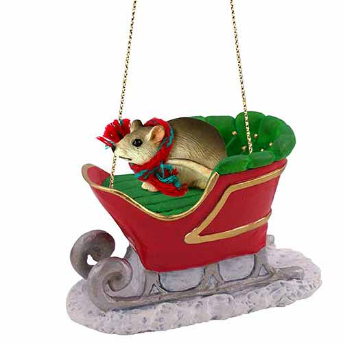 Mouse Sleigh Ride Christmas Ornament