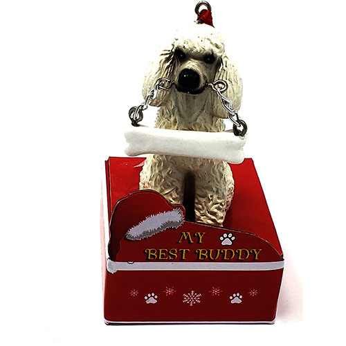 My Best Buddy White Poodle Christmas Ornament