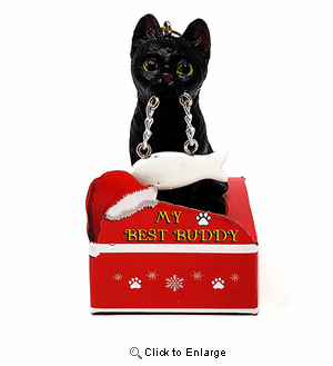 My Best Friend Black Cat Christmas Ornament