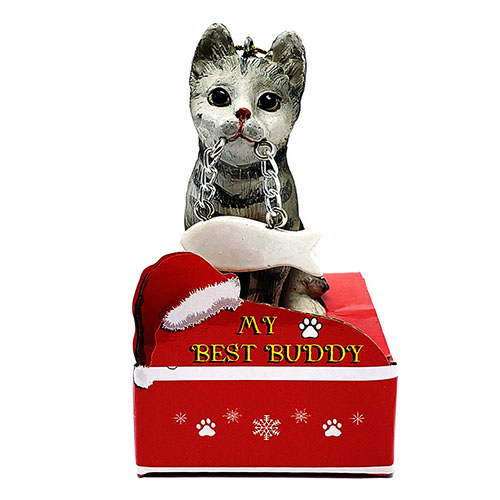 My Best Friend Silver Tabby Cat Christmas Ornament