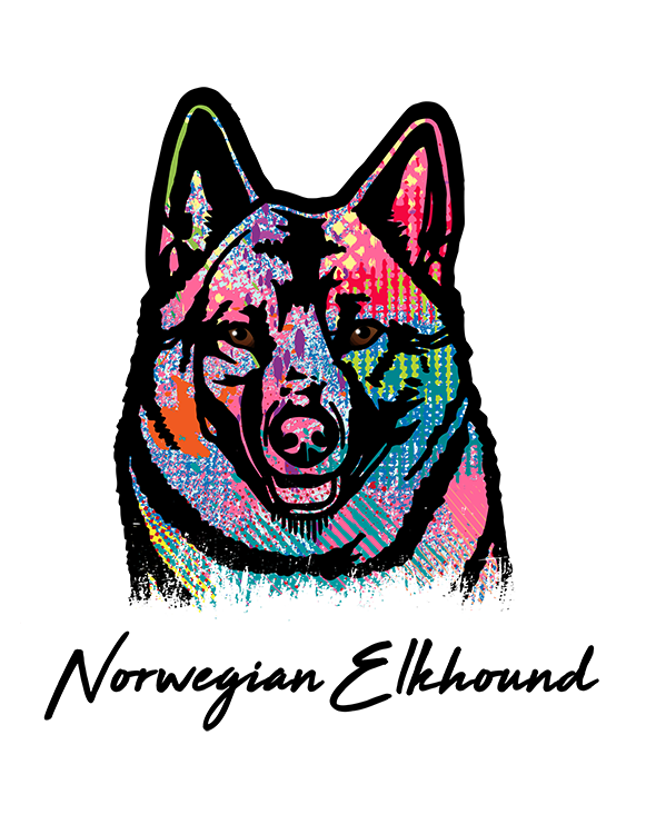 Norwegian Elkhound T Shirt Colorful Abstract
