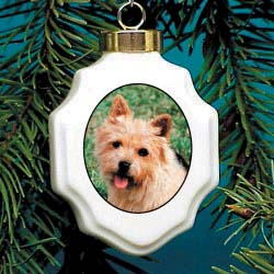 Norwich Terrier Christmas Ornament Porcelain