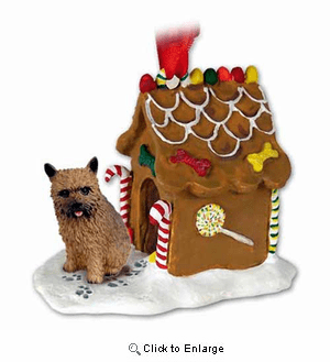 Norwich Terrier Gingerbread House Christmas Ornament