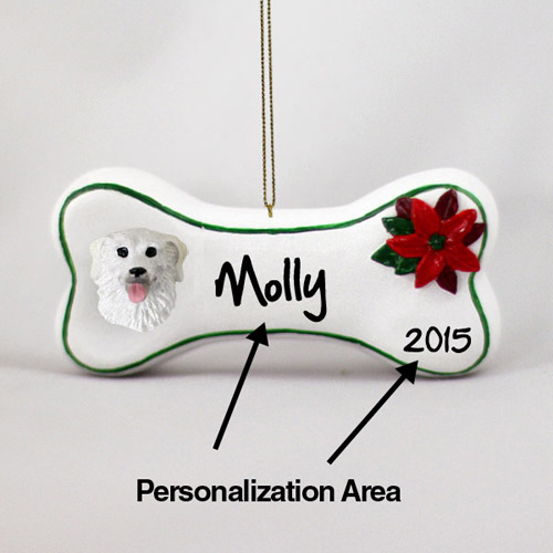 Norwich Terrier Personalized Dog Bone Christmas Ornament