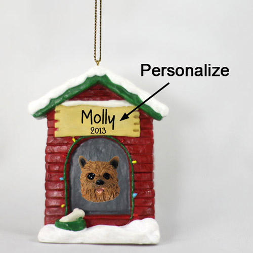 Norwich Terrier Personalized Dog House Christmas Ornament