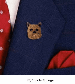 Norwich Terrier Pin Hand Painted Resin