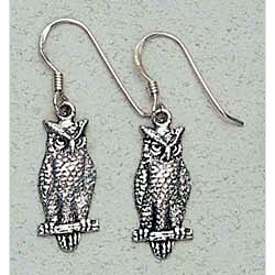 Owl Earrings Sterling Silver