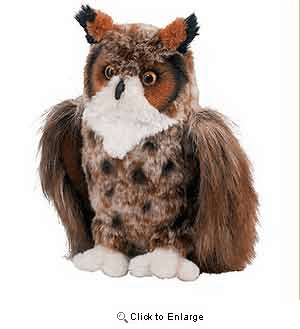 """Einstein"" Great Horned Owl Plush 9"" by Douglas toy"